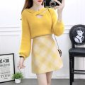 Fashion suit Winter of 2019 XS,S,M,L,XL Yellow + yellow, white + pink, white + yellow, yellow top, white top, yellow skirt, pink skirt