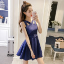Dress Summer of 2018 Orange, Navy XS,S,M,L,XL Short skirt singleton  Sleeveless middle-waisted Solid color 18-24 years old 6814#