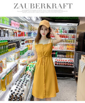 Dress Summer 2021 yellow S,M,L,XL,2XL,3XL,4XL Mid length dress singleton  Long sleeves commute Hood low-waisted Solid color zipper A-line skirt routine Others 25-29 years old Type A Bamboo topic Chain, pocket, zipper, printing, 3D, stitching, bowknot, patching, 3D decoration brocade cotton