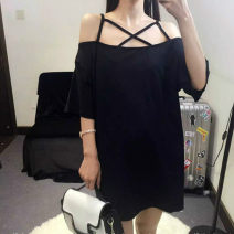 Dress Summer 2016 black S,M,L,XL,2XL,3XL,4XL,5XL Middle-skirt singleton  Short sleeve commute One word collar Loose waist Solid color routine Others Type H Simplicity