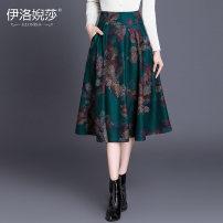 skirt Winter 2020 S,M,L,XL,2XL,3XL,4XL Green print Mid length dress Versatile High waist Fluffy skirt Big flower Type A 25-29 years old YL18563 Wool Elossa Pocket, zipper
