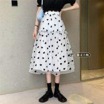 skirt Summer 2021 Average size White, black Mid length dress commute High waist Fluffy skirt other Type A 18-24 years old Korean version