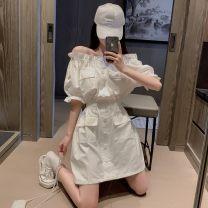 Dress Summer 2020 White, violet Average size Middle-skirt singleton  commute One word collar Elastic waist Solid color A-line skirt puff sleeve 18-24 years old Type A Korean version