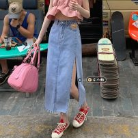 skirt Summer 2021 S,M,L Blue, black Mid length dress commute High waist A-line skirt Solid color Type A 18-24 years old Korean version