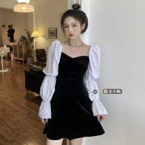 Dress Spring 2021 black S, M Short skirt singleton  Long sleeves commute square neck High waist Solid color Socket A-line skirt puff sleeve 18-24 years old Type A Retro 30% and below other