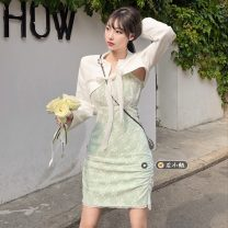 Fashion suit Summer 2021 S, M Green lace skirt, white short suit 18-25 years old