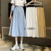 skirt Summer 2021 Average size White, blue, yellow Mid length dress commute High waist A-line skirt Solid color Type A 18-24 years old Button Korean version