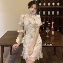 Dress Summer 2021 Rourou rice noodles S,M,L Middle-skirt singleton  Short sleeve commute stand collar High waist Decor Socket routine 18-24 years old Type A Korean version printing