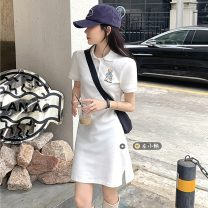 Dress Summer 2021 White, black, pink Average size Short skirt singleton  Short sleeve commute Polo collar High waist letter Socket A-line skirt routine Others 18-24 years old Type A Korean version Embroidery
