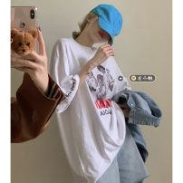 T-shirt Average size Summer 2021 Short sleeve Crew neck easy Medium length routine commute other 30% and below 18-24 years old Retro youth Letters, characters printing
