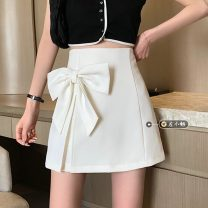 skirt Summer 2021 S,M,L White, black Short skirt commute High waist A-line skirt Solid color Type A 18-24 years old Korean version