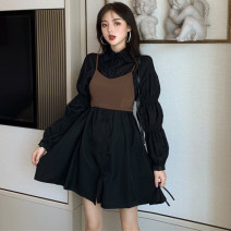 Dress Spring 2021 Champagne, black Average size Middle-skirt singleton  Long sleeves commute Polo collar High waist Solid color A-line skirt puff sleeve 18-24 years old Type A Korean version