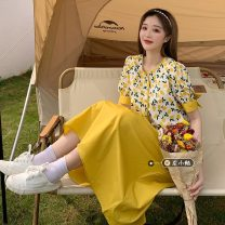 Fashion suit Summer 2021 Average size Blue top, blue skirt, yellow top, yellow skirt 18-25 years old