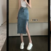skirt Summer 2021 S,M,L Blue, black Mid length dress commute High waist skirt Solid color Type A 18-24 years old 30% and below other Button Retro