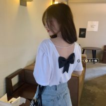 T-shirt White, black, Avocado Green Average size Summer 2021 Short sleeve Crew neck easy Regular routine commute other 30% and below 18-24 years old Korean version youth Solid color Bow, open back