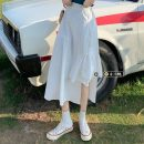 skirt Summer 2021 Average size Pure white, cool black Mid length dress Versatile High waist Irregular Solid color Type A 18-24 years old 30% and below other other