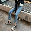 Jeans Spring 2021 Retro Blue S,M,L Ninth pants High waist Straight pants routine 18-24 years old Old, washed other light colour