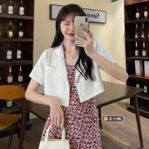 Fashion suit Summer 2021 S. M, average size White suit, white pink floral suspender skirt, pink suit, pink blue floral suspender skirt 18-25 years old