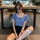 T-shirt Green, blue, yellow, black S, M Summer 2021 Short sleeve square neck Straight cylinder have cash less than that is registered in the accounts routine commute other 30% and below 18-24 years old Korean version youth Solid color