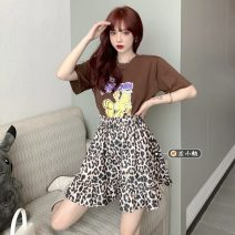 Fashion suit Summer 2021 Average size Printed T, leopard skirt 18-25 years old