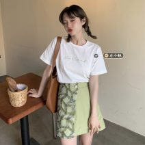 skirt Summer 2021 S. M, average size Purple T-shirt, green T-shirt, purple dress, green dress Short skirt commute High waist A-line skirt Solid color Type A 18-24 years old Korean version
