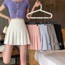 skirt Summer 2021 S,M,L Gray, white, blue, black, pink Short skirt commute High waist Pleated skirt Type A 18-24 years old Korean version