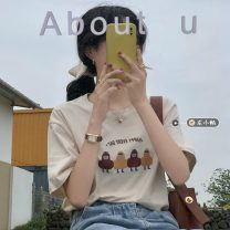 T-shirt Apricot, white, black Average size Summer 2021 Short sleeve other easy Regular routine commute other 30% and below 18-24 years old Korean version youth Cartoon animation printing