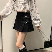 skirt Summer 2021 S. M, l, average size Black skirt 11096, red and blue plaid skirt 11096, rose top 11030 Short skirt commute High waist Pleated skirt lattice Type A 18-24 years old Asymmetry Korean version