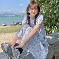 Dress Summer 2021 Blue Floral Dress Average size Mid length dress singleton  Short sleeve commute Crew neck High waist Decor Socket A-line skirt puff sleeve 18-24 years old Type A Korean version 30% and below other other