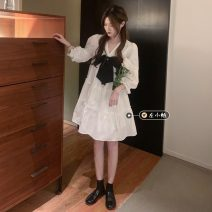 Dress Summer 2021 Picture color Average size Middle-skirt singleton  elbow sleeve commute V-neck High waist Socket routine 18-24 years old Type A Korean version bow