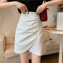 skirt Summer 2021 S,M,L White, black Short skirt commute High waist A-line skirt Solid color Type A 18-24 years old 30% and below other other fold Korean version