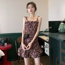 Dress Summer 2021 Picture color Average size Short skirt singleton  Sleeveless commute One word collar High waist Broken flowers Socket Ruffle Skirt camisole 18-24 years old Type A Korean version fungus 30% and below other