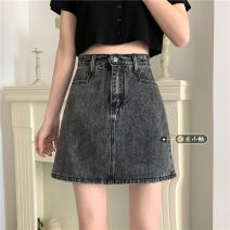 skirt Summer 2021 S,M,L,XL Gray, black Short skirt commute High waist A-line skirt Solid color Type A 18-24 years old Korean version