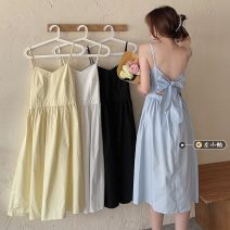 Dress Summer 2021 White, blue, yellow, black Average size Mid length dress singleton  Sleeveless commute other High waist Solid color Socket A-line skirt other camisole 18-24 years old Type A Korean version Bow, open back