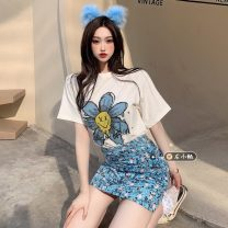 T-shirt Top, skirt S. M, l, average size Summer 2021 Short sleeve Crew neck easy Regular routine commute other 30% and below 18-24 years old youth Plants and flowers printing