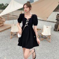 Dress Summer 2021 Black, beige M, L Short skirt singleton  Short sleeve commute V-neck High waist Solid color Socket A-line skirt puff sleeve 18-24 years old Type A Korean version 30% and below other other