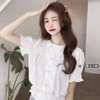 shirt Red, black, cream puff Average size Summer 2021 other 30% and below Short sleeve commute Short style (40cm < length ≤ 50cm) Doll Collar Single row multi button pagoda sleeve Solid color 18-24 years old High waist type Korean version