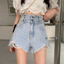 Jeans Summer 2021 blue S,M,L shorts High waist Wide legged trousers routine 18-24 years old Wash, button other light colour 30% and below