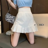 skirt Summer 2021 S,M,L White, black Short skirt commute High waist Pleated skirt Solid color Type A 18-24 years old 30% and below other other fold Korean version