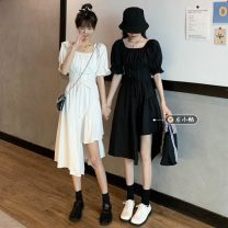 Dress Summer 2021 White, black Average size Mid length dress singleton  Short sleeve commute square neck High waist Solid color Socket Irregular skirt routine 18-24 years old Type A Korean version Button 30% and below other other
