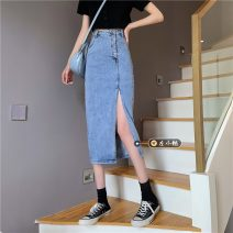 skirt Spring 2021 S,M,L,XL blue Mid length dress commute High waist Denim skirt Solid color Type A 18-24 years old Korean version