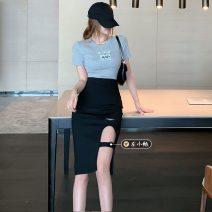Fashion suit Summer 2021 S. M, average size White (T-shirt), grey (T-shirt), grey (skirt), black (skirt) 18-25 years old