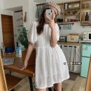 Dress Spring 2021 White, coffee Average size Short skirt singleton  Short sleeve commute Crew neck Elastic waist Solid color Socket A-line skirt puff sleeve 18-24 years old Type A Korean version 30% and below other other