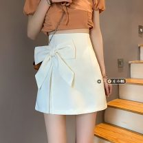 skirt Summer 2021 S,M,L White, black Short skirt commute High waist skirt Solid color Type A 18-24 years old 30% and below other other bow Korean version