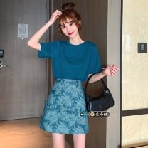 Fashion suit Summer 2021 S,M,L Peacock blue T, short skirt 18-25 years old