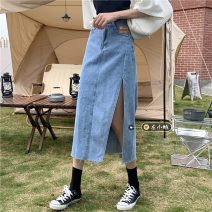 skirt Summer 2021 S,M,L,XL Blue, black Mid length dress commute High waist A-line skirt other Type H 18-24 years old Button Korean version