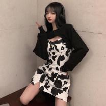 Fashion suit Spring 2021 S,M,L Black sweater, white sweater, cow suspender skirt, blue zebra suspender skirt 18-25 years old