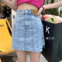 skirt Summer 2021 S,M,L blue Short skirt commute High waist A-line skirt Solid color Type A 18-24 years old 30% and below other other Make old Korean version
