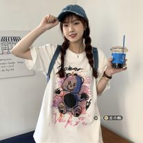 T-shirt White, purple, black M,L,XL,2XL Summer 2021 Short sleeve Crew neck easy Regular routine commute other 30% and below 18-24 years old Korean version youth Cartoon animation printing