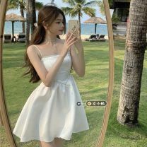 Dress Summer 2021 White sling, black sling S,M,L Short skirt singleton  Sleeveless commute other High waist Solid color Socket A-line skirt routine camisole 18-24 years old Type A Korean version 30% and below other other